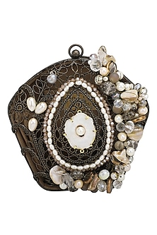 Oxidised Crystals and Beads Embellished Clutch by Be Chic