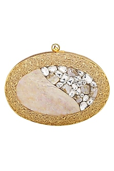Gold Crystals Embellished Clutch by Be Chic