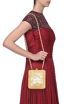 Gold Metal and Mother Of Pearl Square Clutch by Be Chic