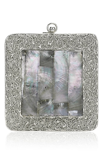 Silver Metal and Grey Mother Of Pearl Square Clutch by Be Chic