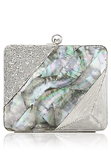 Silver Metal and Grey Mother Of Pearl Panelled Square Clutch by Be Chic