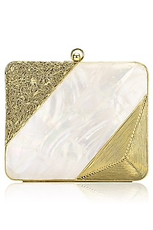 Gold Metal and Ivory Mother Of Pearl Square Clutch by Be Chic