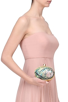 Gold Frame Natural Abalone Shell Oval Clutch by Be Chic