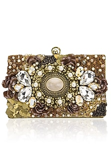 Gold Natural Stone, Beads and Feather Clutch by Be Chic