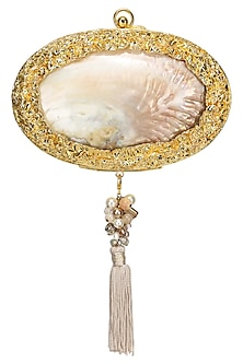 Gold Beaten Metal and Natural Shell Oval Clutch by Be Chic