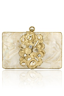 Gold and Ivory Mother Of Pearl Square Clutch by Be Chic