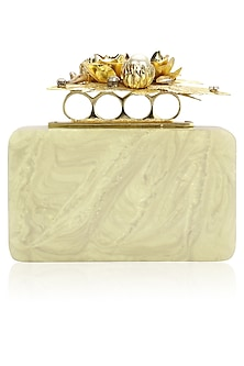 Ivory Resin Box Clutch by Be Chic