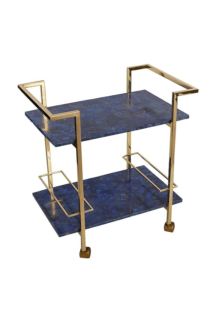 Blue & Gold Bar Trolley by Bespoke Home Jewels