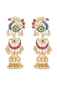 Gold Finish Multi Colored Kundan Long Earrings by Belsi's Jewellery