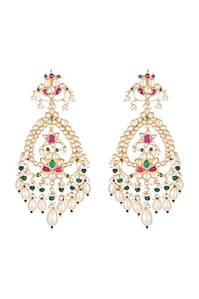 Gold Finish Multi Colored Kundan Chandelier Earrings by Belsi's Jewellery