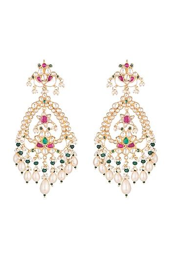 Gold Finish Multi Colored Kundan Chandelier Earrings by Belsi's Jewellery