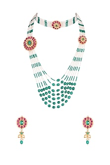 Gold Finish Kundan & Green Beaded Necklace Set With Bracelet by Belsi's Jewellery