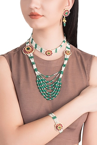 Gold Finish Kundan & Green Beaded Necklace Set With Bracelet by Belsi's Jewellery