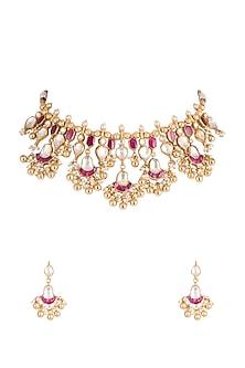 Gold Plated Kundan Choker Necklace Set by Belsi's Jewellery