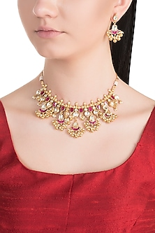 Gold Plated Kundan Choker Necklace Set by Belsi's Jewellery