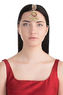 Gold Finish Multi Colored Kundan Bridal Maang Tikka by Belsi's Jewellery