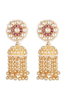 Gold Finish Kundan & Pearl String Jhumka Earrings by Belsi's Jewellery