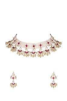 Gold Plated Kundan & Moti Patta Choker Necklace Set by Belsi's Jewellery