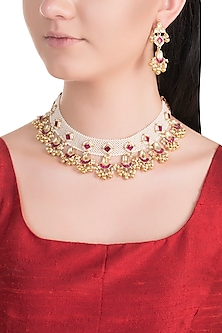 Gold Plated Kundan & Moti Patta Choker Necklace Set by Belsi's Jewellery