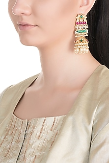 Gold Plated Multi Colored Kundan Jhumka Earrings by Belsi's Jewellery