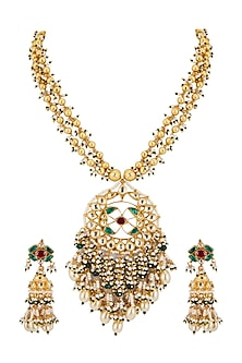 Gold Finish Long Pendant Necklace Set by Belsi's Jewellery