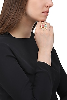 Gold Plated Zircon and Jade Stone Ring by Belsi's Jewellery