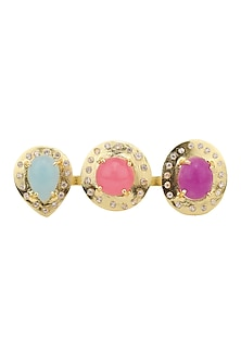 Gold Plated Zircon, Aqua Chalcedony and Jade Stone Double Finger Ring by Belsi's Jewellery