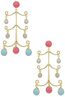 Gold Plated Aqua Chalcedony and Jade Stone Earrings by Belsi's Jewellery