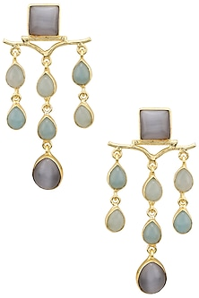 Gold Plated Aqua Chalcedony and Grey Stone Earrings by Belsi's Jewellery