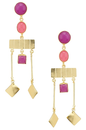 Gold Plated Jade Stone Geometric Earrings by Belsi's Jewellery