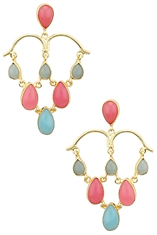 Gold Plated Aqua Chalcedony and Pink Jade Stone Earrings by Belsi's Jewellery