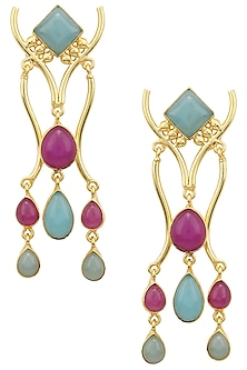 Gold Plated Aqua Chalcedony and Purple Jade Stone Earrings by Belsi's Jewellery