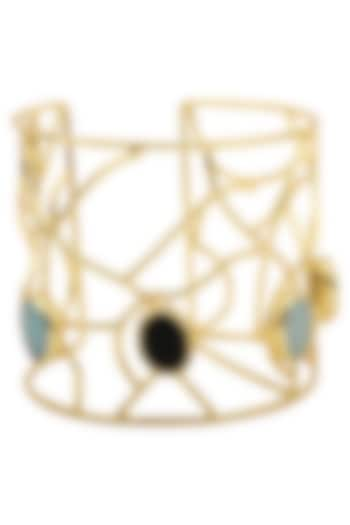 Gold Plated Aqua and Black Stone Handcuff by Belsi's Jewellery