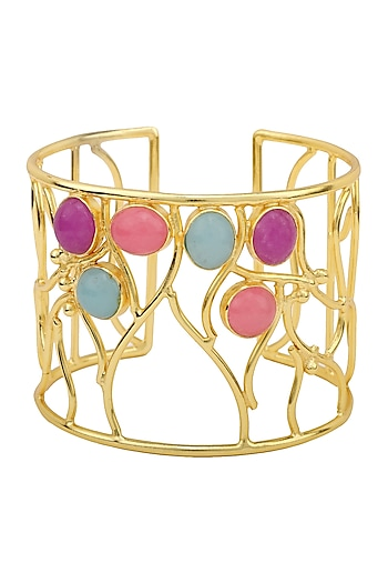 Gold Plated Multi-Coloured Jade Stone Filigree Handcuff by Belsi's Jewellery
