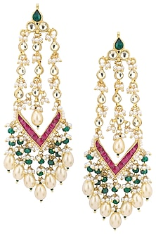 Gold Plated Long Kundan Earrings by Belsi's Jewellery