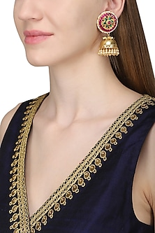 Gold Plated Kundan and Pearl Earrings by Belsi's Jewellery