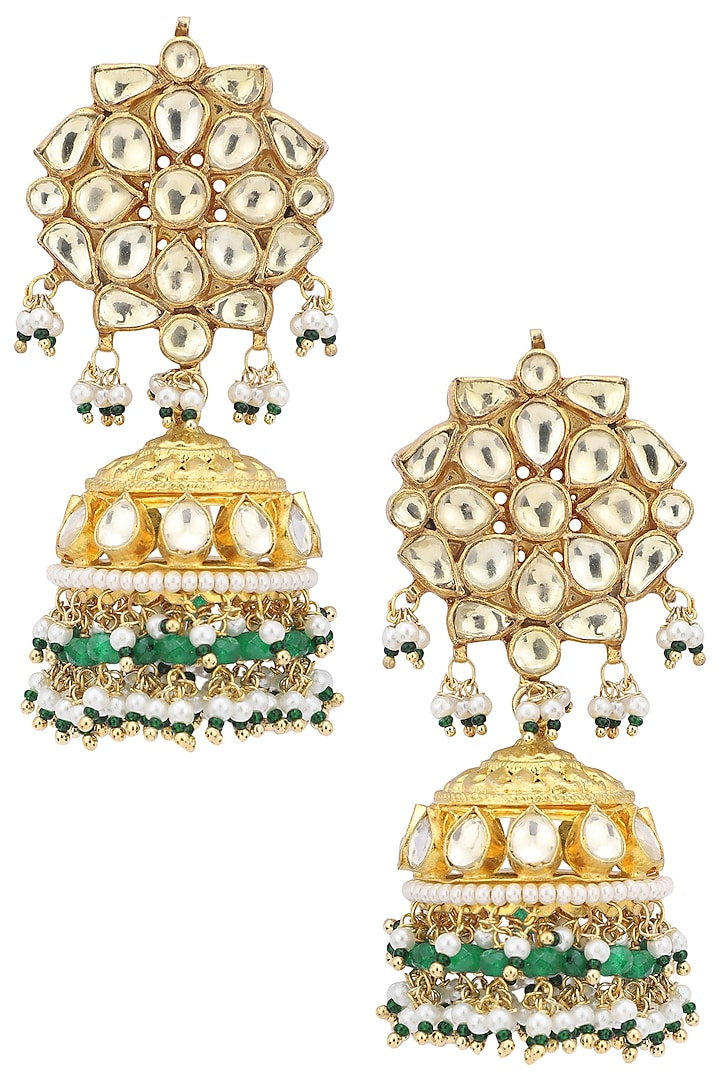 Gold Plated Yellow and Green Stone Earrings by Belsi's Jewellery