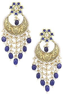 Gold plated kundan and blue beads dangler earrings by Belsi's Jewellery