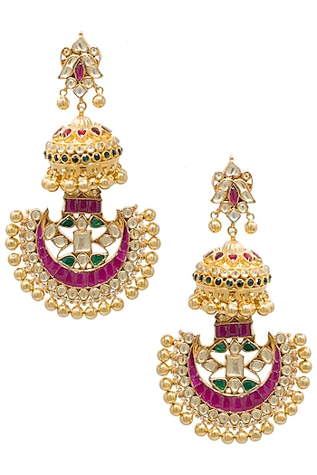 Gold plated kundan and pink beads chandbali earrings by BELSI'S JEWELLERY