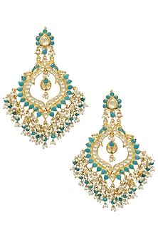 Gold plated turquoise beads, kundan and pearl jhumki earrings by BELSI'S JEWELLERY