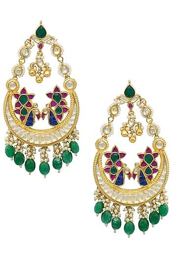 Gold plated kundan and green beaded chandbali earrings by BELSI'S JEWELLERY