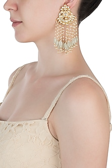 Gold plated kundan and mint green beaded tassel earrings by BELSI'S JEWELLERY