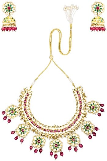 Gold Finish Kundan and Ruby Red Pearl Necklace Set by Belsi's Jewellery