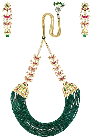 Gold Finish Kundan And Emerald Multi Strand Necklace Set Available