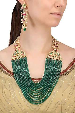 Gold Finish Kundan and Emerald Multi-Strand Necklace Set by Belsi's Jewellery