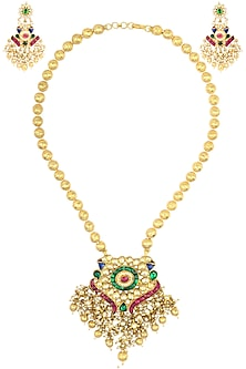 Gold Finish Peacock Motif Kundan and Pearl Necklace Set by Belsi's Jewellery