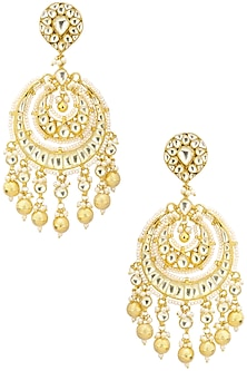 Gold Finish Kundan and Gold Pearl Drop Chandbali Earrings by Belsi's Jewellery
