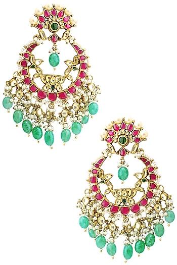 Gold Finish Multi-Colour Kundan, Pearl and Green Moti Chandbali Earrings by Belsi's Jewellery