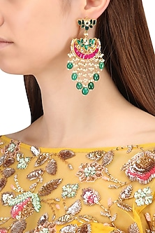 Gold Finish Multi-Colour Kundan, Pearl and Green Moti Earrings by Belsi's Jewellery