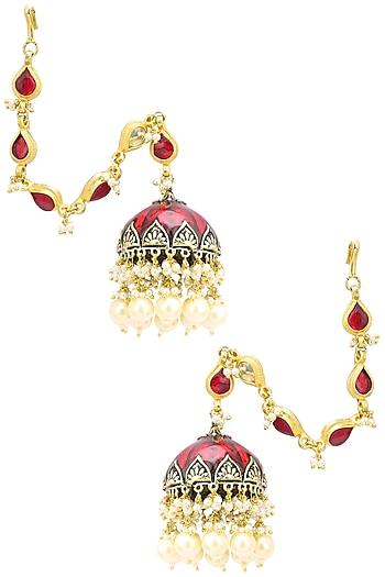Gold Finish Kundan and Red Meena Work Jhumki Earrings by Belsi's Jewellery
